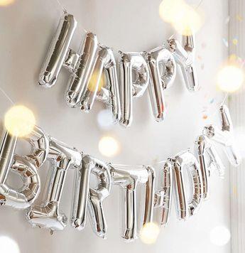 "Happy Birthday - Silver Letter Balloon Banner Garland - 16"" - Mylar Foil - Alphabet Letter Number -"
