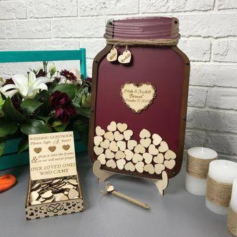 Wedding guest book, Alternative guestbook, Mason jar drop box, Burgundy drop top, dropbox, Wedding Decor, Wooden Decor, Rustic Wedding