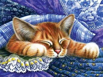 Botanical Cat ACEO Print Blue Anemone by Irina Garmashova