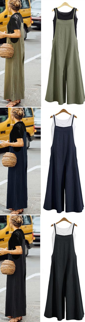 $26.99 USD Women Casual Pure Color Loose Linen Tank Jumpsuit