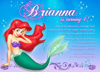 Ariel Invitation For Little Mermaid Birthday Party By PixelParade 999