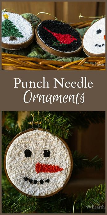 Punch Ornaments with Mini Embroidery Hoops For a Casual Look.