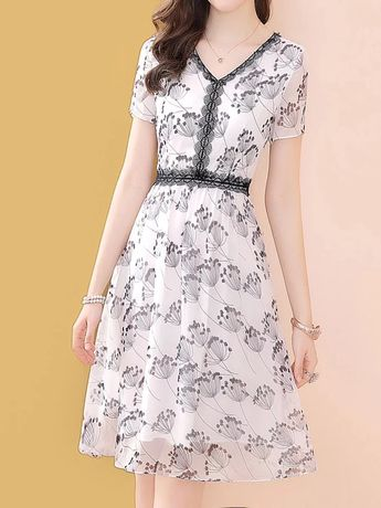 V neck white short sleeve floral printed daily casual midi dress