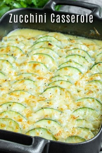 This creamy, cheesy Baked Zucchini Casserole is made with fresh zucchini, rich cream, and lots of cheese for the ultimate zucchini bake! It is an easy summer vegetable casserole that makes a great recipe to add to your meal plan. If you've been looking for a zucchini recipe to use up all of those summer zucchinis this is it! #zucchini #summerrecipes #vegetables #casserole #cheese