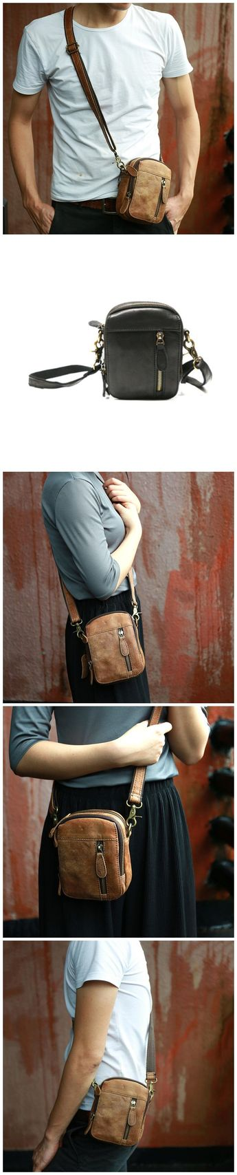 Full Grain Leather Mini Shoulder Bag Casual Crossbody Bag Unisex Waist Bag  Z6807 8caedfad73216