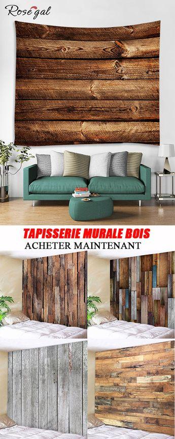 Tapisseries chambre style rétro motif bois #Rosegal #tapisseriemurale #décoration #maison #bois