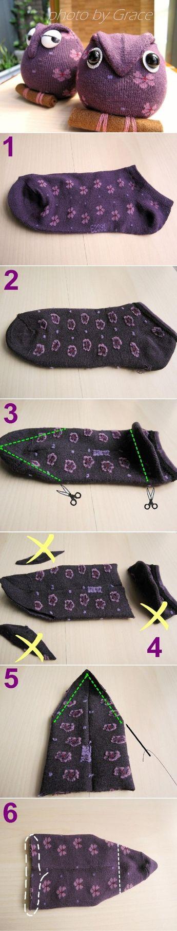 Bricolez de beaux hiboux avec des petites chaussettes! Le modèle le plus simple à confectionner!