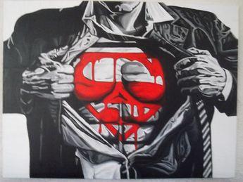 """Large Acrylic Superman Painting 30"""" x 40"""""""