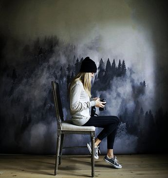 Foggy Hills Mural - Black and White Wallpaper, Trees Mural