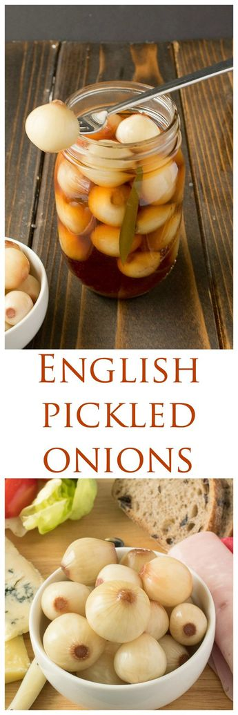 English pickled onions. Pearl onions are pickled in malt vinegar, spices and sugar for a delicious British snack.