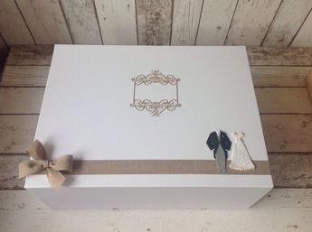 Largest Extra Large Wedding Keepsake Box Matt White With M