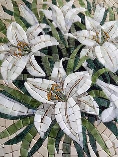 Marble Mosaic White Lilies Round, Lily Painting Round Wall Decor, Marble Gift Decorative Tiles Panno, Roman Mosaic Flowers, Lily Picture