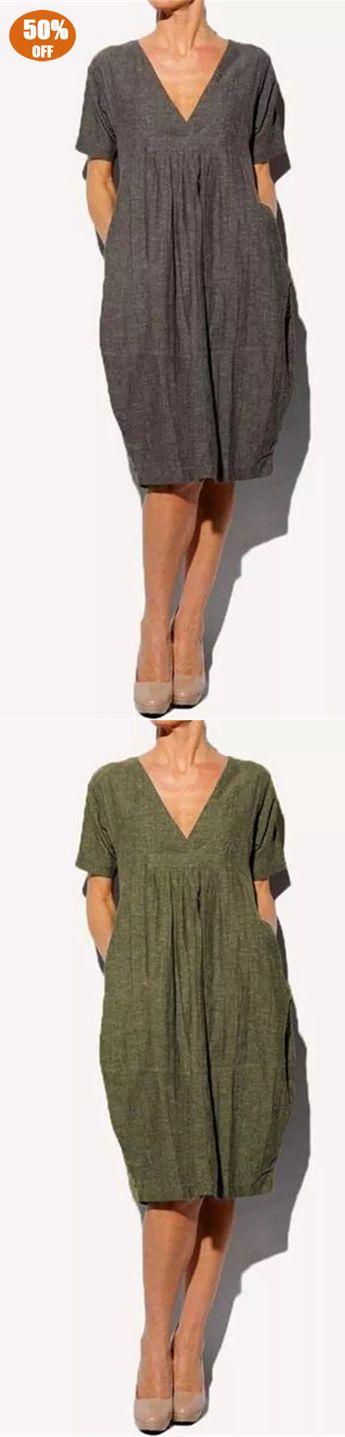Pleated V-Neck Dress with Pockets