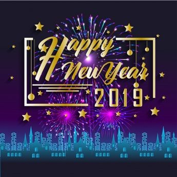 Happy New Year 2019 And Holidays Concept With Firework Displayed, 2019, Abstract, Banner PNG and Vector with Transparent Background for Free Download