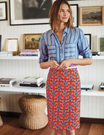 Boden style, print mixing, patterned pencil skirt with striped utility blouse, love the colors