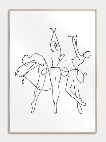 Dancing ballerinas in one line - #ballerinas #Dancing #Line #plakat