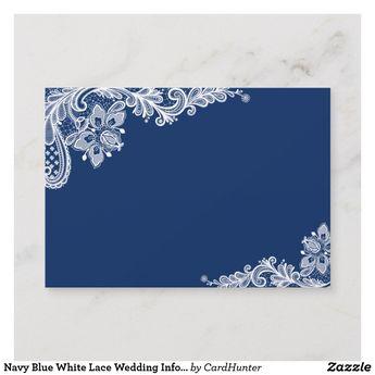 Navy Blue White Lace Wedding Information Details Enclosure Card | Zazzle.com