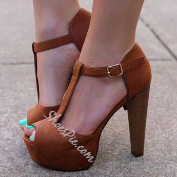 Shoespie - Shoespie Shoespie Brown Peep Toe Platform Sandals - AdoreWe.com