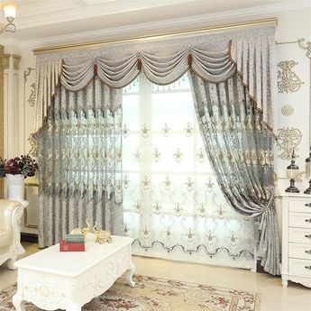 European Style Embroidered Flowers 2 Panels Living Room and Bedroom Sheer Curtain