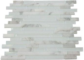 Random Brick Zen Rich White Blend Marble Glass Mosaic Tile