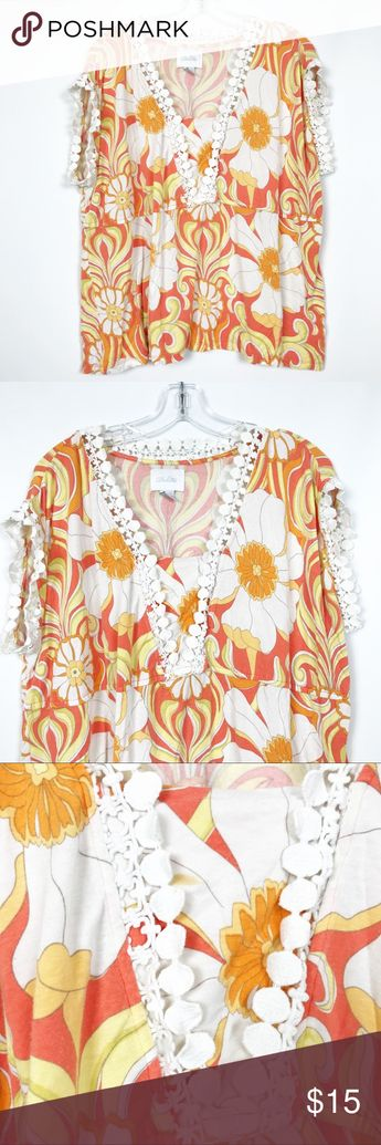 c1c21550fda8 Anthropologie Deletta Crochet Floral Blouse Size large There is a spot  pictured on front Anthropologie Tops