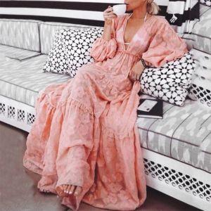Bohemia V Neck Long Sleeve Ruffled Print Pink Maxi Dresses for Women