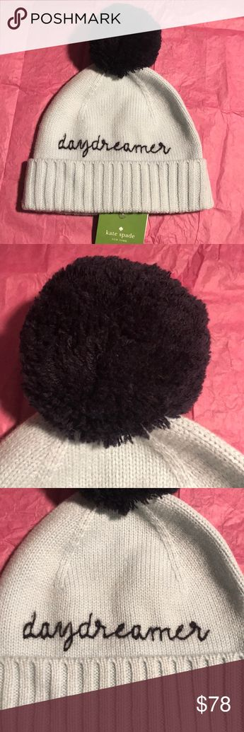 88b5bc255b32f Kate Spade Icy Blue Daydreamer Black Pom Pom Hat This is a Kate Spade Icy  Blue