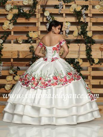 3195db0b100 Floral Charro Quinceanera Dress by Ragazza Fashion MV15-115