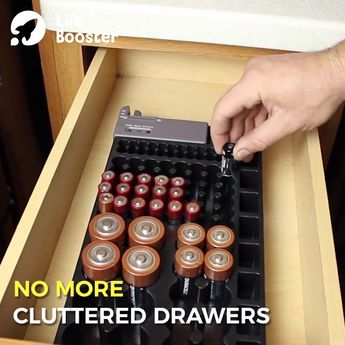 Battery Organizer with Energy Tester 😍 No more batteries rolling around in your drawer. Store all your batteries in one organizer! 😘👏