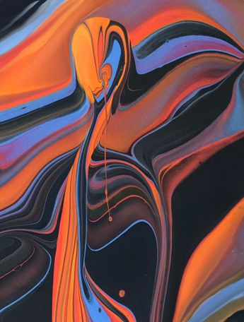 Drippy Poured fluid acrylics and ink by Nancy Wood