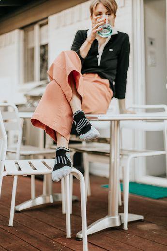 Women's Black and Blue Low Cut Performance Socks