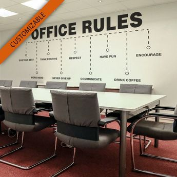 Office Rules, Office, Wall Art, Wall Decal, Wall Sticker, Office, Values, Motivational, Inspiring, Office Decor, Office Walls, Wall Decor