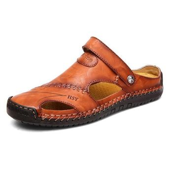 Men Hand Stitching Soft Outdoor Closed Toe Leather Sandals(Buy 2 save $8 by code: BUY2)