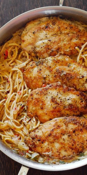 Chicken Breasts with Pasta in Creamy White Wine Parmesan Cheese Sauce-I season chicken with Tonys seasoning instead of salt and pepper, then dip in flour mix