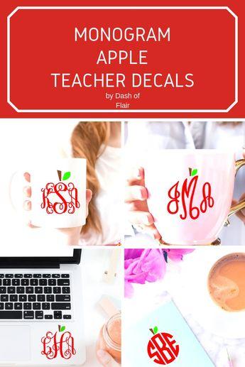 Teacher Monogram Decal Apples - Teacher Vinyl Decals - Vinyl Stickers for Teachers - Teacher Car Stickers