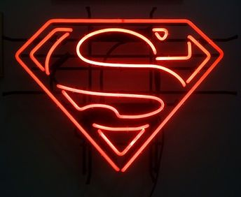 """Superman Neon Sign: The Man of Steel's """"S"""" Logo in Bright Red Neon! 