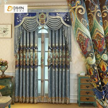 DIHIN HOME Flowers Embroidered Blue Valance ,Blackout Curtains Grommet Window Curtain for Living Room ,52x84-inch,1 Panel