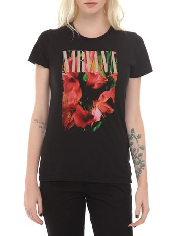 Details about Nirvana Kurt Cobain FLOWERS (LILIES) Girls T-Shirt NEW Official & Licensed