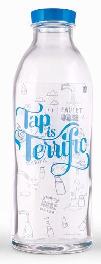"Faucet Face ""Tap Is Terrific"" Glass Water Bottle"