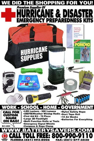 "Emergency Preparedness is now a very real concern and having the right emergency supplies when an emergency hits can mean the difference between life and death. This  ""Hurricane Emergency Preparedness Kit"" has everything you will need for your next hurricane, emergency, disaster or blackout. Everything is neatly pre-packed inside a heavy duty water resistant bag and ready for immediate use. There is no emergency kit on the market that offers more."