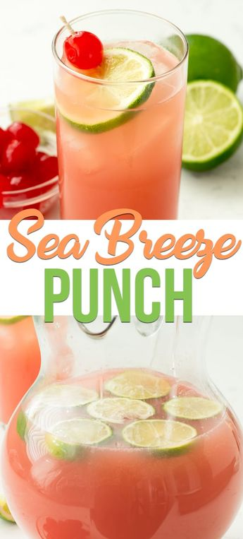 Sea Breeze Cocktail Punch is a fun cocktail recipe for summer. Grapefruit, vodka and lime pair in this classic cocktail recipe turned into a party punch recipe. #punch #alcohol #vodka #recipe