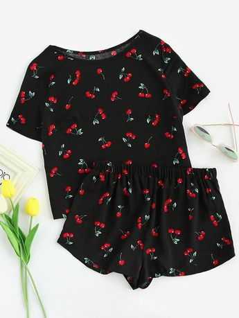 3b0a2ec5d8 Shop Cherry Print Top And Shorts Pajama Set online. SheIn offers Cherry Print  Top And