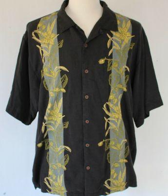 6ca6305e Men's XL Tommy Bahama Black Silk Floral Embroidered Hawaiian Aloha Shirt  #TommyBahama #Hawaiian
