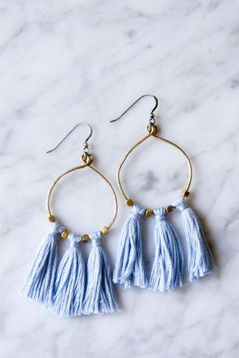 Brass Bead & Tassel Earrings -