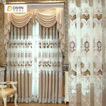 DIHIN HOME High Quality Grey Flowers Embroidered Valance ,Blackout Curtains Grommet Window Curtain for Living Room ,52x84-inch,1 Panel