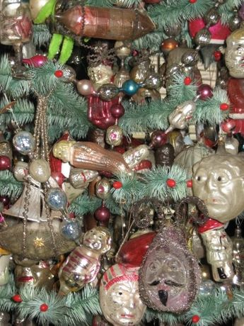 Feather tree with antique German blown glass Christmas ornaments.//love a tree covered with ornaments
