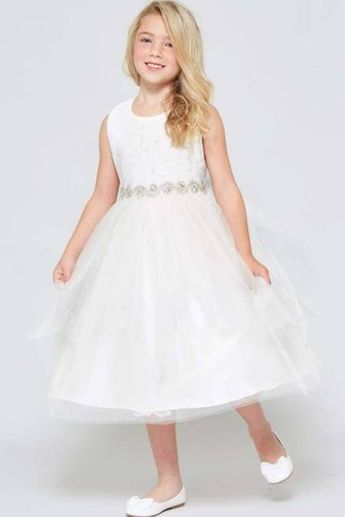 White Lace Contrast Double Tulle Sleeveless Cancan Dress with waist stud