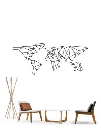 Science Art - Geometric World Map vinyl wall decal sticker - removable vinyl wall decor for office, classroom, playroom minimal decor