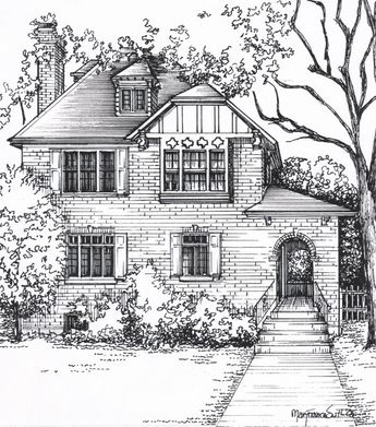 Custom House Drawing in Ink - your photo to art - home portrait hand drawn in ink - Wedding gift or anniversary gift