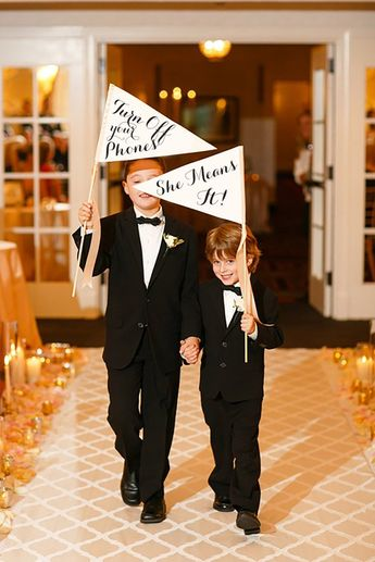 Turn Off Your Phones // She Means It! Package Set of 2 Funny Wedding Signs Ring Bearer Flowergirl Mo